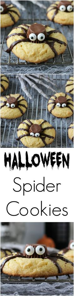 Easy Halloween Spider Cookies - a super easy treat for Halloween // dessert Halloween Dessert Halloween, Halloween Baking, Halloween Goodies, Halloween Food For Party, Holiday Baking, Halloween Treats, Halloween Spider, Spooky Treats, Happy Halloween