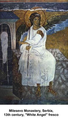 This icon White Angel is a part of the fresco wall in the Mileseva Monastery in Serbia, and was made between 1222 and Religious Images, Religious Icons, Religious Art, Byzantine Art, Byzantine Icons, Early Christian, Christian Art, High Middle Ages, European Paintings