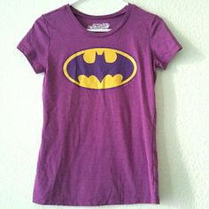 👜👗BOGO FREE Purple Batman T-Shirt Worn twice, short sleeve, size small, contoured juniors size.  50% cotton 50% polyester. Great for the collector or batman fan. Old Navy Tops Tees - Short Sleeve