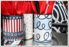 Cover tin cans w/scrapbook paper