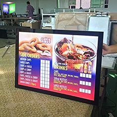 10units column restaurant led menu board slim led light boxes for