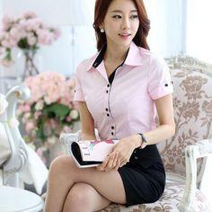 New Novelty Pink Fashion Short Sleeve Summer Uniform Style Female Blouses Tops Shirts Women Business Blusas Feminina Blouse Formal Blouses, Formal Shirts, Summer Work Wear, Work Fashion, Fashion Outfits, Corporate Shirts, Uniform Shirts, Feminine Style, Blouse Designs