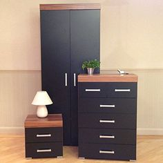 3 Piece Black & Walnut Bedroom Furniture Set – Wardrobe, 4+2 Drawer Chest, 2 Drawer Bedside Cabinet – Prima Furniture
