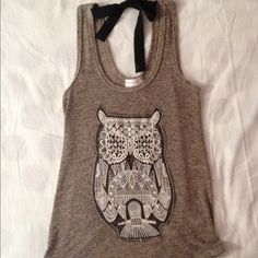 Owl Tank Top So Cute! Brownish Gray Knit Tank. Open back with black Chiffon tie. Embroidered Owl Design on front. Very good condition worn two times. Hand washed and hung to dry. Juniors Large Poetry Tops Tank Tops