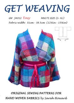GW sewing pattern S-XL for narrow hand woven fabric. Simple, easy to make kimono style jacket with contrast belt by Sarah Howard – 2019 - Weaving ideas Coat Patterns, Weaving Patterns, Clothing Patterns, Knitting Patterns, Pin Weaving, Loom Weaving, Weaving Tools, Weaving Projects, How To Make Clothes