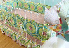 Pop Garden Tiered  Ruffle Custom Crib Bedding Set by LottieDaBaby, $425.00