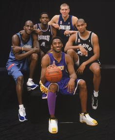 Portrait of the Western Conference starting lineup for the All-Star Game Kevin Garnett, Chris Webber, Dirk Nowitzki, Tim Duncan and Kobe Bryant at First Union Center on February 2002 in. Get premium, high resolution news photos at Getty Images Basketball Pictures, Love And Basketball, Sports Basketball, Sports Pictures, Basketball Players, Bryant Basketball, Team Pictures, Sports Images, College Basketball