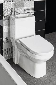 Produkt, który łączy w sobie umywalkę i toaletę WC. Idealne rozwiązanie dla małych pomieszczeń. Jednak najważniejszą zaletą tego produktu jest przede wszystkim oszczędność wody. #bathroom #ecology #trends #home #łazienka #ekologia #trendy #dom Lava, Wc Sitz, Micro House, Bathroom, Retro, Design, Wcs, Walking, Products