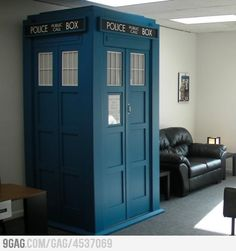 Because who doesn't need a TARDIS in their living room?    Screw needing a TARDIS in my living room... I WANT IT!!!