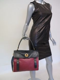 c417c20b8a485 Yves Saint Laurent Muse Two Bag Tricolor Leather Red Navy Black  amp  Canvas