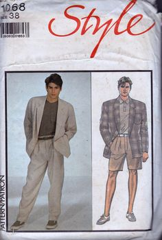 80s Vintage Mens Sewing Pattern Style 1068 by allthepreciousthings, $8.50