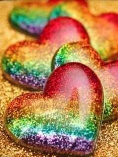 rainbow sparkling hearts