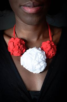Visit soapart and buy a Red and White #RosetteNecklace to improve your fashion.