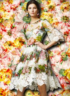 A kaleidoscopic bouquet of flowers - Dolce FW2014 Womenswear Collection Flower and Fruit Print Dress Printed Chiffon With Lace Application