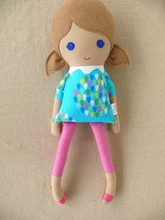 Fabric+Doll+Rag+Doll+Girl+in+Blue+Raindrop+Dress+by+rovingovine,+$34.00