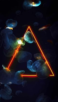 Neon Triangle Jellyfish - IPhone Wallpapers