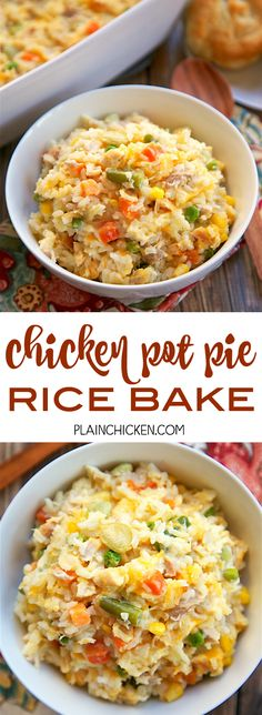 Chicken Pot Pie Rice Bake - chicken, mixed vegetables, cheddar, cream of chicken, sour cream and rice. Ready in 30 minutes! A whole meal in one pan. No need for extra sides! We love to serve this with some buttermilk biscuits to complete the meal. Easy Casserole Dishes, Casserole Recipes, Rice Bake Recipes, Easy Rice Dishes, Crockpot Rice Recipes, Minute Rice Recipes, Hamburger Recipes, Potato Recipes, Baked Chicken