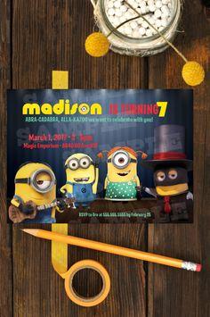 minion magic birthday invitation