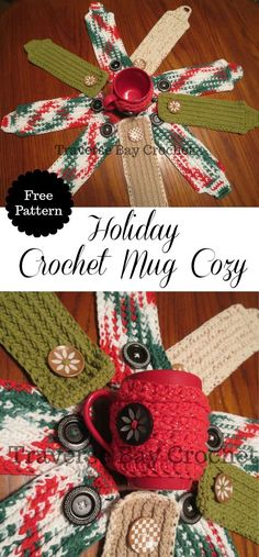 Easy crochet mug cozy Give your mug a hug this holiday season with these cute festive mug cozies! Very cute and keeps your hands safe while holding your mug. Great for yourself and to give as gifts! The free pattern is listed below. Skill Level: Easy, knowledge of basic crochet skills … … Continue reading →