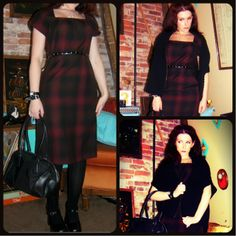 Craft, Thrift, or Die: I Like Plaid part 2; Not Sure it's Plaid; retro, dark red dress, black sweater cape