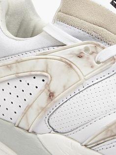 Puma Men's White Blaze of Glory Marble Trinomic Sneakers | oki-ni