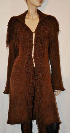 Hippie World! Amazing & Original Woman Maxi Cardigan Cappotto All Wool Cardigan Lungo Donna Marrone Frange 100% Lana Boho Hippie Taglia S/M di BeHappieWorld su Etsy