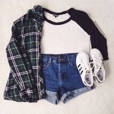 Cute outfit. High waisted jean shorts. Adidas all stars. Baseball tee and flannel. Layout my outfit