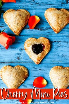 Make these little hearts for your loved-one on Valentine's Day to put a smile on their face. Even better, make them with your kids. Have you ever seen a kid's face light up when you wave some cookie-cutters at them and ask for help? These do just that! #valentinesdayrecipes #cherrypies #cherrypie #valentinesdaydesserts #valentinesdesserts #heartshapedpie Potluck Desserts, Easy Desserts, Delicious Desserts, Dessert Recipes, Pasta Recipes, Cherry Hand Pies, Kinds Of Pie, Cherry Recipes, Valentines Food