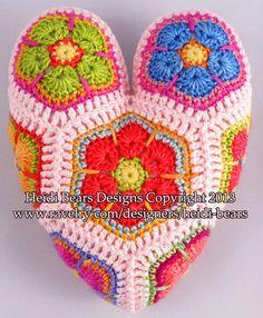 Hippie harten Afrikaanse bloem haken patroon
