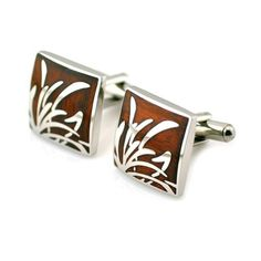 PenSee Unique Stainless Steel & Rosewood Floral Cufflinks for Men with Gift Box by PenSee -- Awesome products selected by Anna Churchill
