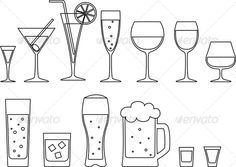Set of Drinks    Set of full goblets, wine glass and mug of beer. Vector illustration,