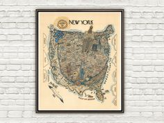 Vintage Poster of New York  Pictorial Map - product image