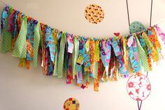 SALE Super bright and Cheerful Fabric Banner Fringe Amy, a pic of the fabric garland.they did not rip, but cut fabric. Rag Garland, Ribbon Garland, Fabric Garland, Bunting Garland, Fabric Bunting, Fabric Banners, Buntings, Garlands, Cute Crafts