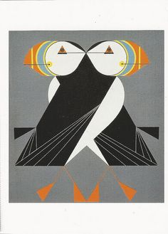 'Puffins Passing' by Charley Harper