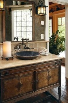 Love the old buffet vanity. I am planning one for my kitchen sink.