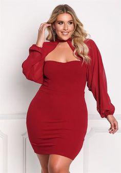 Plus Size Chiffon Sleeve Bodycon Dress  bbw Plus Size Red Dress 081c7327dc81