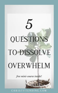 Feeling overwhelmed? No need. Ask yourself these 5 questions to dissolve overwhelm and find peace, clarity, and calm. Plus, sign up for the free self-care mini-course inside! >> www.christytending.com