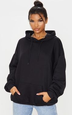 Sweaters & Hoodies | PrettyLittleThing Hoodie Outfit, Sweater Hoodie, Cropped Sweater, Zip Hoodie, Jumper, Pullover, Black Joggers, Black Hoodie, Jogging
