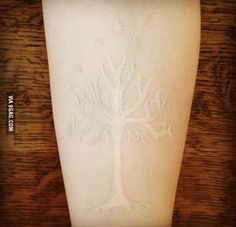 White Tree of Gondor tattoo done in white ink