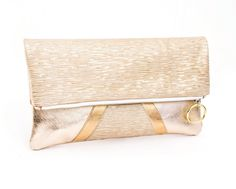 Clutches – Gold Fold Over Clutch, Gold Leather Clutch – a unique product by gmaloudesigns on DaWanda