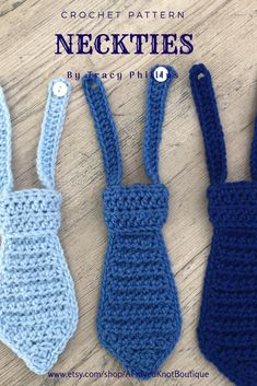 Baby Neckties- Sizes Newborn to Crochet PATTERN- by A Frayed Knot Boutique - baby products list Crochet Crafts, Easy Crochet, Crochet Hooks, Crochet Projects, Knit Crochet, Crochet Toddler, Crochet Baby Clothes, Crochet For Boys, Crochet Baby Stuff