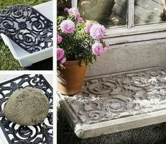 6.  Create Concrete Designs And Stamps Using Rubber Door Mats!
