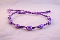 Dainty Modern Small Variegated Purple Beaded Micro Macrame Friendship Bracelet by HeartMesaGifts