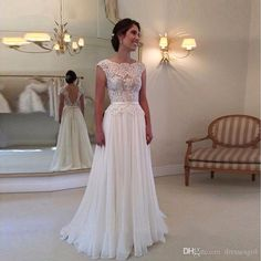 Cheap 2017 Bohemian Lace A Line Wedding Dresses Illusion Bodices Sexy Backless Bridal Gowns Chiffon Wedding Gowns