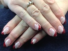 Donna's nails. Candy cane inspired Christmas gel nail art.