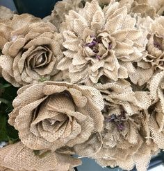 Burlap flowers- being sold at Hobby Lobby.