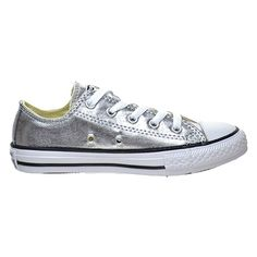 Converse Kid s Chuck Taylor All Star Seasonal Ox Fashion Sneaker Shoe - Metallic  Gunmetal White fdcd50b30d
