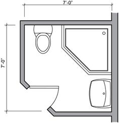 Shower Only Bathroom Floor Plans | 42.75 Square Foot Three Quarter Bath  With Lavatory,