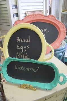 Old silver trays - recycled chalk board style!