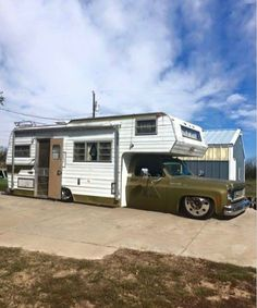 Lowered mid truck with semi wheels & camper! Rv Truck, 87 Chevy Truck, Truck Camping, Chevy C10, Truck House, Lake Camping, Motorcycle Camping, Chevy Pickups, Camping Gear